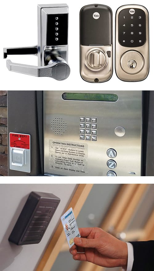 image of analog and digital keypad locks (top), a door buzzer system (middle), and a key-card reader next to an office door (bottom).