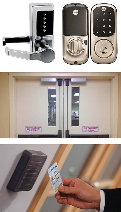 image of analog and digital keypad locks (top), commercial doors with maglocks and crash bars (middle), and a key card access control system (bottom).