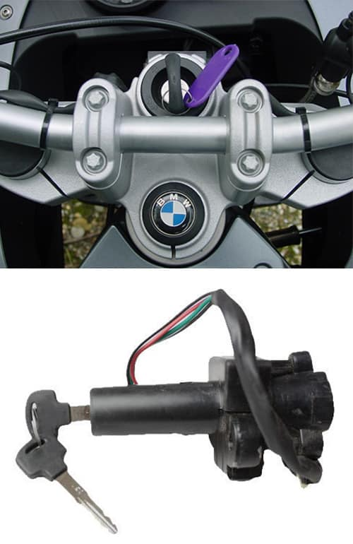 image of a BMW motorcycle with a new key in the ignition (top) and a motorcycle ignition lock of the type we repair and install (bottom).