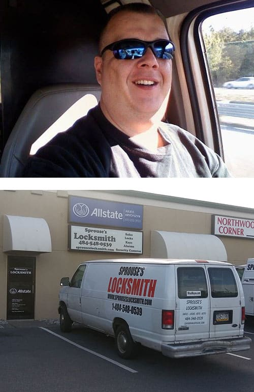 image of Tim Sprouse (top) and their shop and vans (bottom)